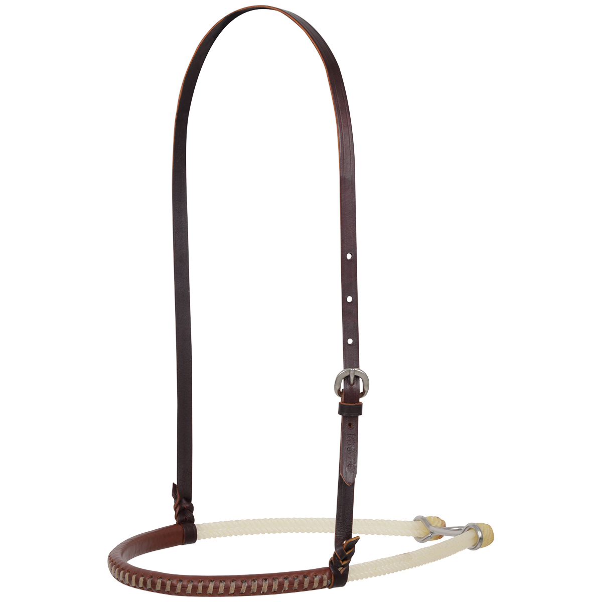 Double Rope Noseband Leather Covered