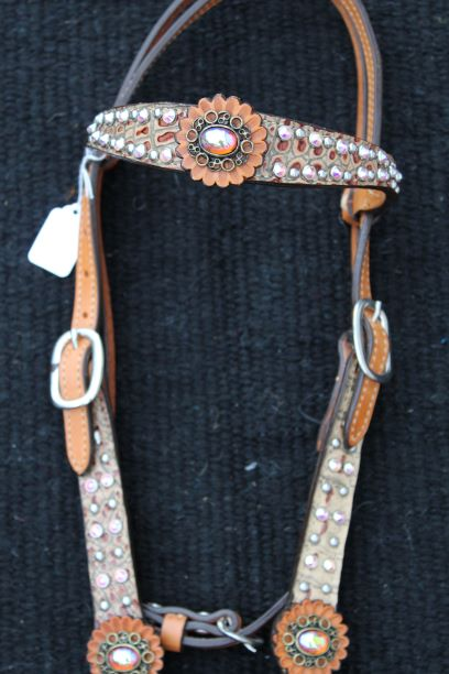 Opal Brown Croc Headstall
