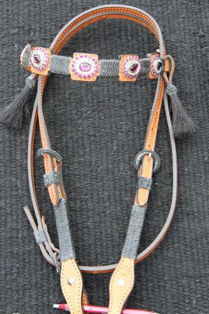 Plum Prism Headstall with Rawhide Braid