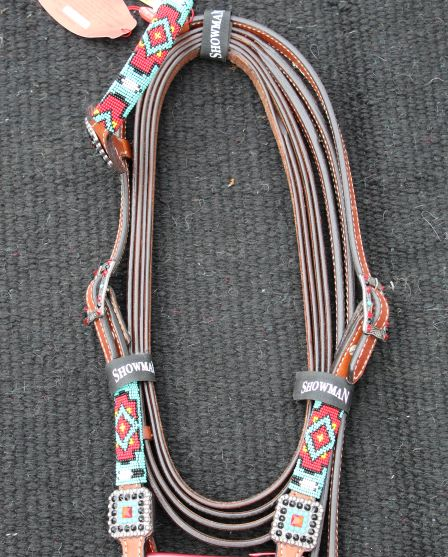 Showman Beaded Red and Teal Tack Set
