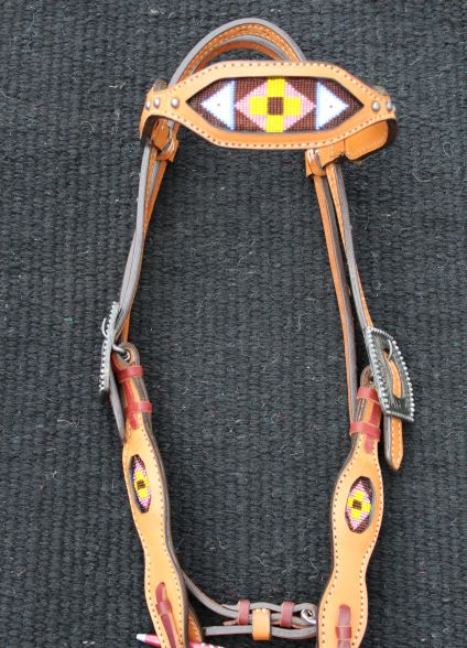 Yellow Beaded Headstall
