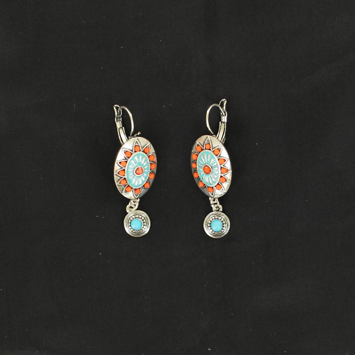 Coral/Blue Earrings
