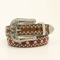 Brown Belt with Pink Crystals
