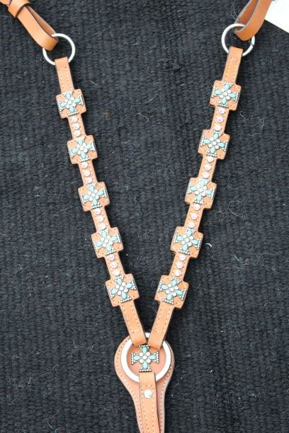 Turquoise Crystal Cross Breastcollar
