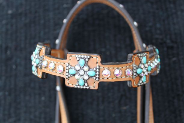 Turquoise Crystal Cross Headstall