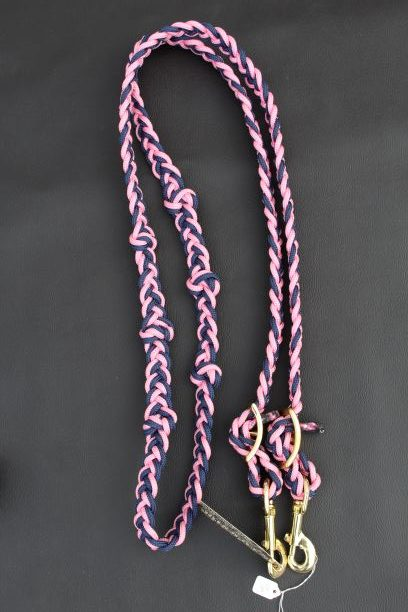 The Tack Stop Reins – Navy & Pink