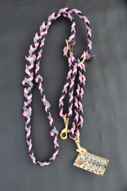 The Tack Stop Reins – Pink, Grey & Black