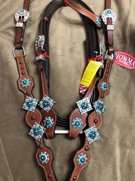 Showman Teal Crystal Tack Set with Reins