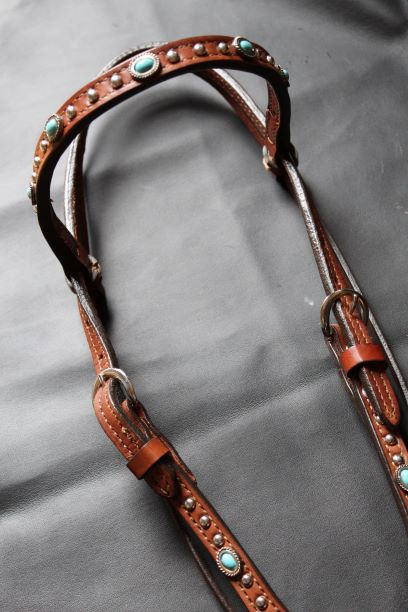 Browband with Turquoise Dots