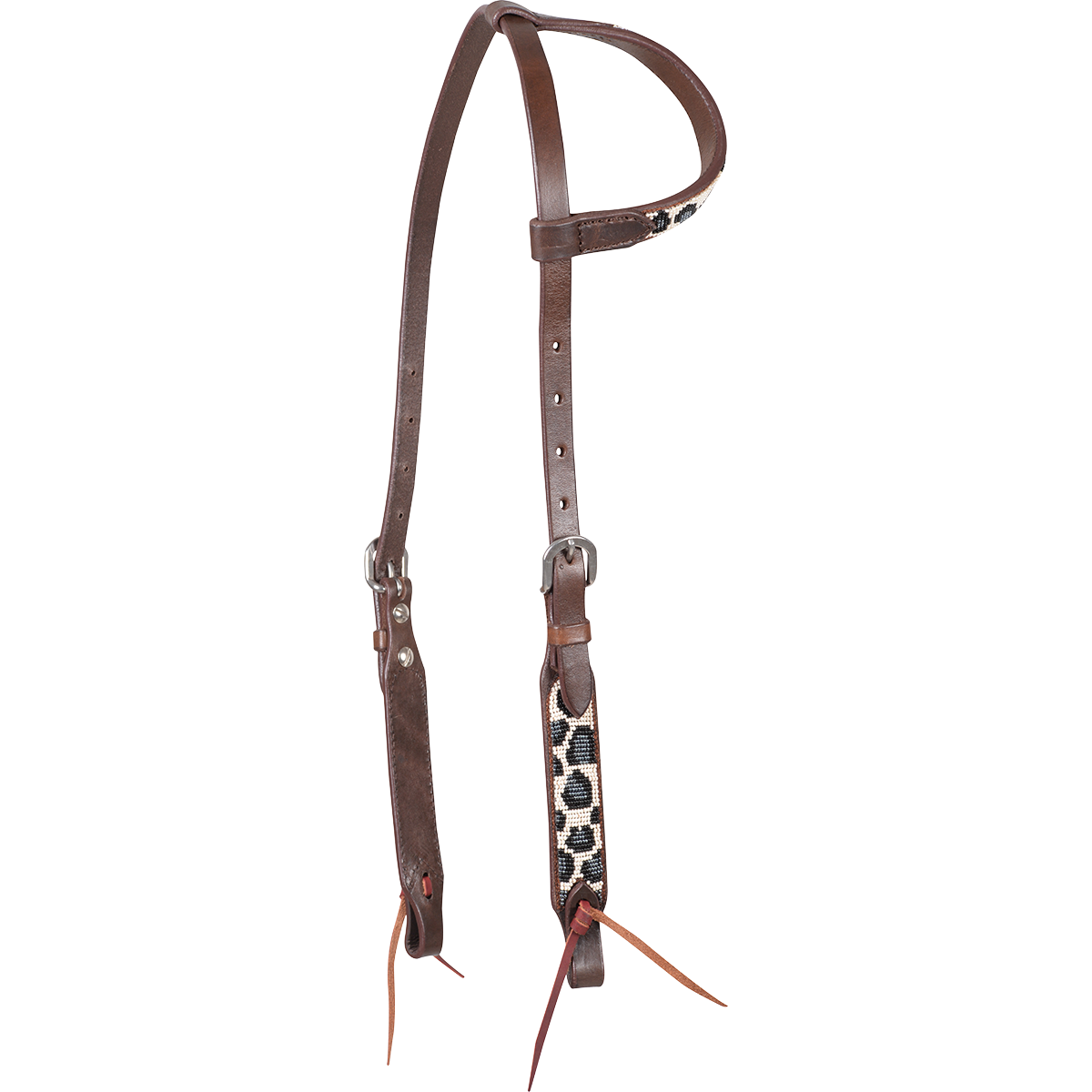 Grey Cheetah Beaded Headstall