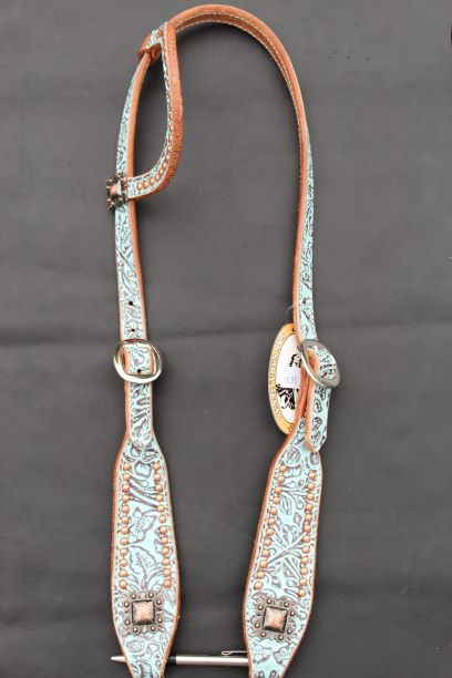 Turquoise Floral One Ear Headstall