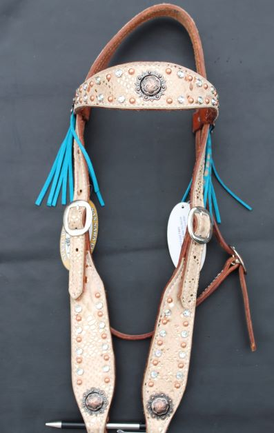 Cream Browband Headstall with Fringe