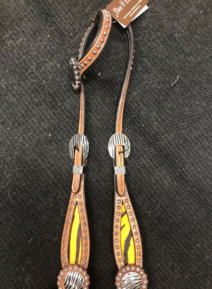 One Ear Tiger Inlay Headstall