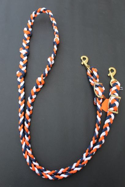The Tack Stop Reins – Navy, White & Orange