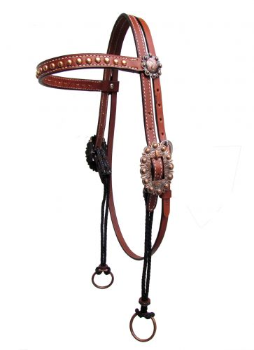 Copper Studded Gag Headstall with Browband