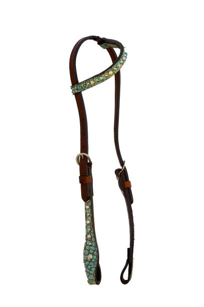 Turquoise Gator One Ear Headstall