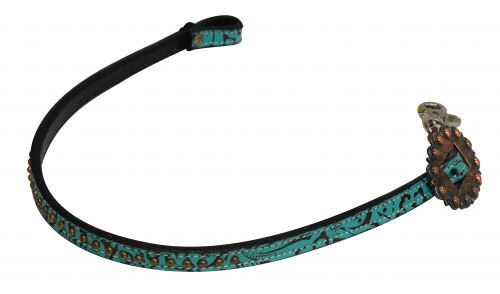 Copper Studded Teal/Brown Filigree Wither Strap