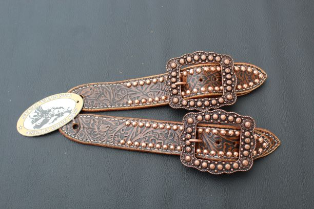 brown floral spur strap