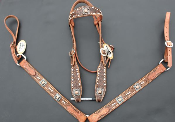 Brown Floral Tack Set
