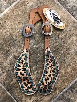 Cheetah w/Turquoise Buckstitch Spur Straps