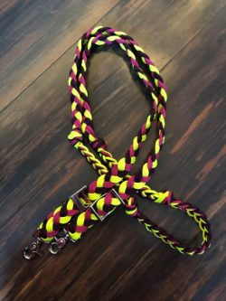 yellow pink and purple reins