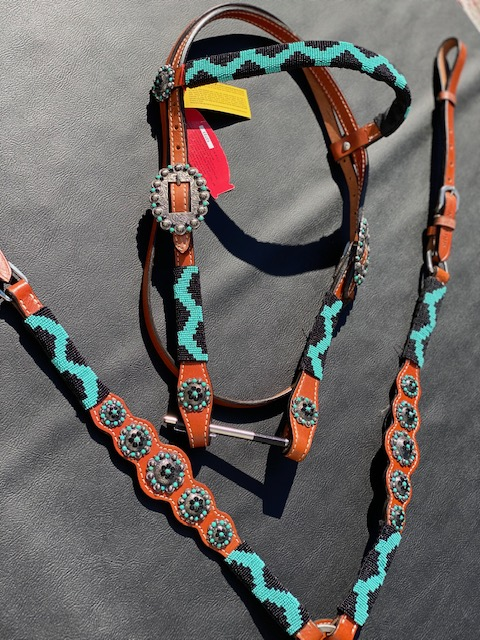 Showman Teal/Black Beaded Overlay Tack Set