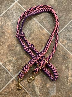 Tack Stop Reins Purple & Pink 2 Snaps