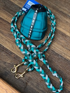 Tack Stop Reins 2 Snaps Teal, Hunter Green & Silver