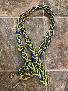 Tack Stop Reins Blue & Yellow 2 Snaps