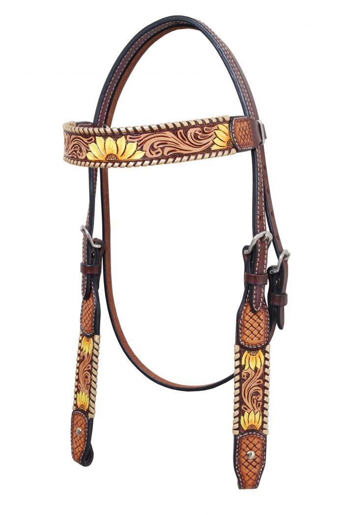 Sunflower Tack Set Painted with Metallic Whipstitch